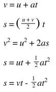 Main equations used in calculations of uniformly accelerated motion